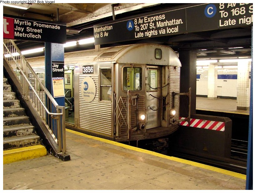 (131k, 820x620)<br><b>Country:</b> United States<br><b>City:</b> New York<br><b>System:</b> New York City Transit<br><b>Line:</b> IND 8th Avenue Line<br><b>Location:</b> Jay St./Metrotech (Borough Hall) <br><b>Route:</b> A<br><b>Car:</b> R-32 (Budd, 1964)  3856 <br><b>Photo by:</b> Bob Vogel<br><b>Date:</b> 7/22/2007<br><b>Viewed (this week/total):</b> 0 / 4257