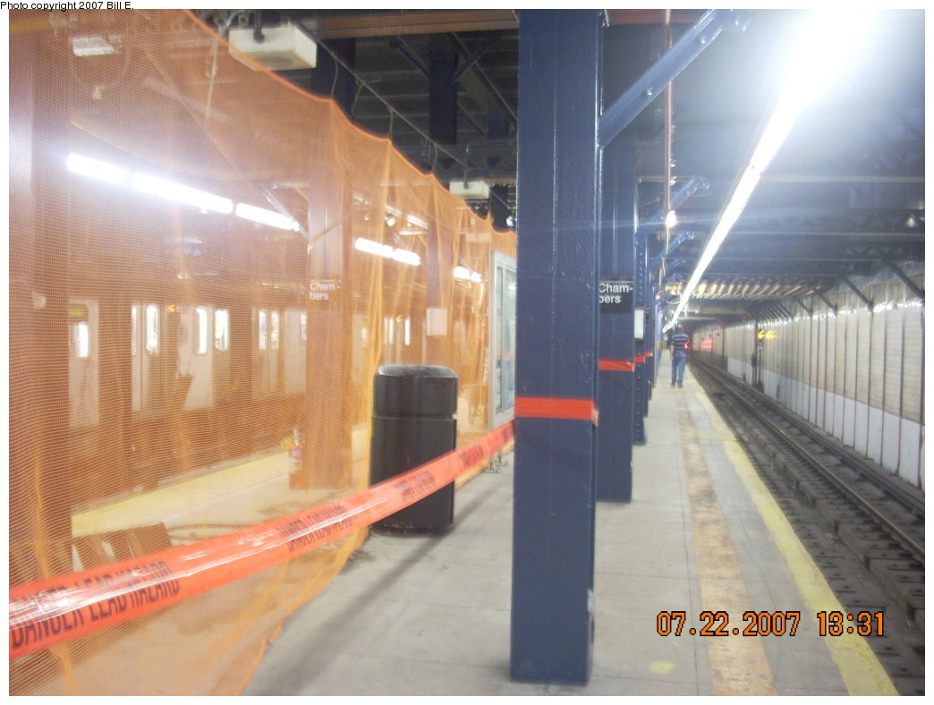 (181k, 1044x788)<br><b>Country:</b> United States<br><b>City:</b> New York<br><b>System:</b> New York City Transit<br><b>Line:</b> IRT West Side Line<br><b>Location:</b> Chambers Street <br><b>Photo by:</b> Bill E.<br><b>Date:</b> 7/22/2007<br><b>Notes:</b> Lead abatement project at Chambers St.<br><b>Viewed (this week/total):</b> 2 / 2124