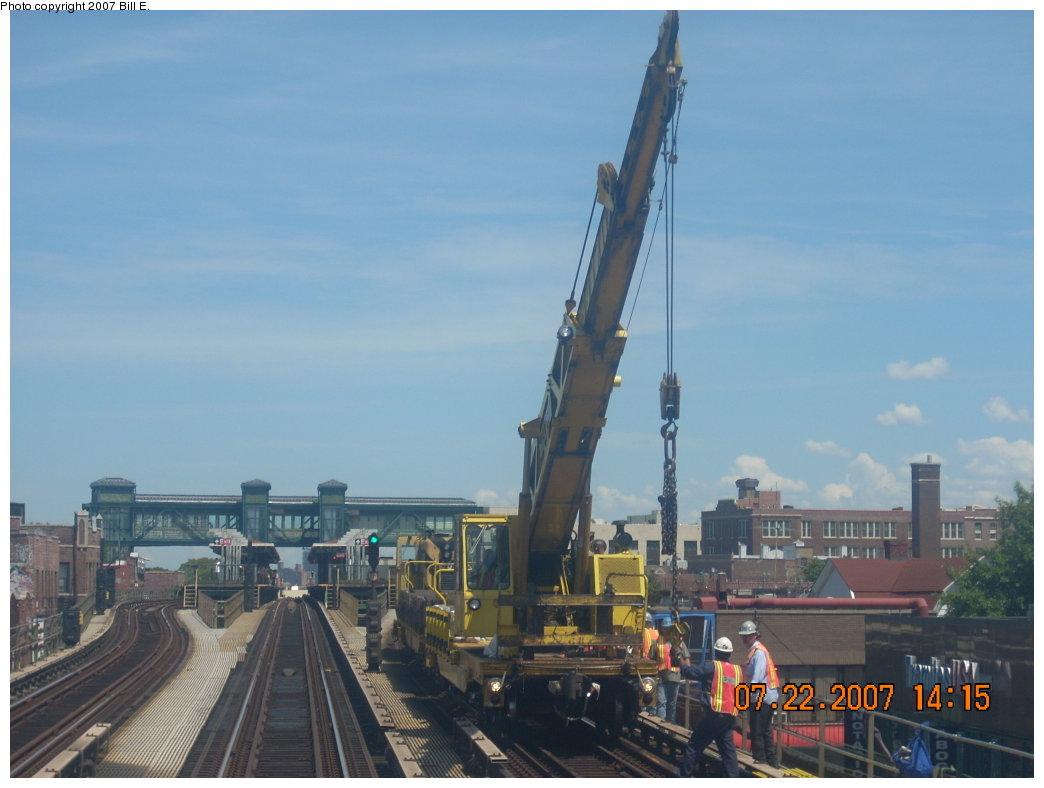 (154k, 1044x788)<br><b>Country:</b> United States<br><b>City:</b> New York<br><b>System:</b> New York City Transit<br><b>Line:</b> IRT Flushing Line<br><b>Location:</b> Junction Boulevard <br><b>Route:</b> Work Service<br><b>Car:</b> Crane Car  <br><b>Photo by:</b> Bill E.<br><b>Date:</b> 7/22/2007<br><b>Viewed (this week/total):</b> 0 / 2534