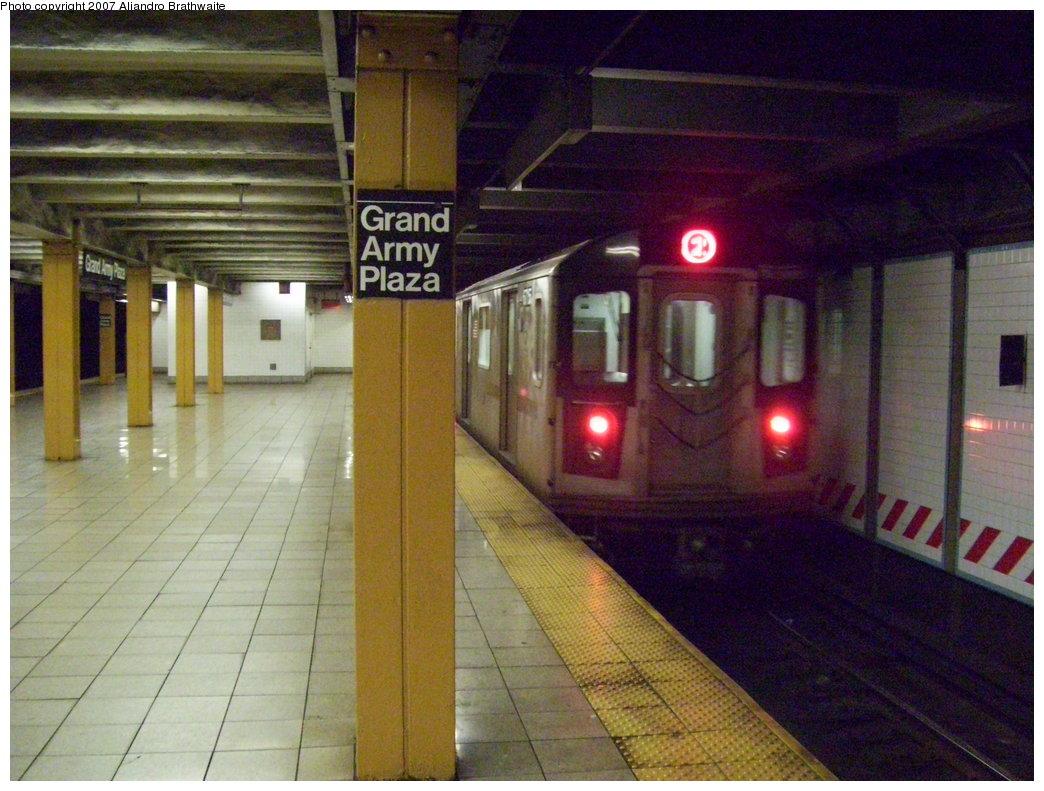 (203k, 1044x791)<br><b>Country:</b> United States<br><b>City:</b> New York<br><b>System:</b> New York City Transit<br><b>Line:</b> IRT Brooklyn Line<br><b>Location:</b> Grand Army Plaza <br><b>Route:</b> 2<br><b>Car:</b> R-142 (Primary Order, Bombardier, 1999-2002)  6715 <br><b>Photo by:</b> Aliandro Brathwaite<br><b>Date:</b> 7/24/2007<br><b>Viewed (this week/total):</b> 2 / 3765