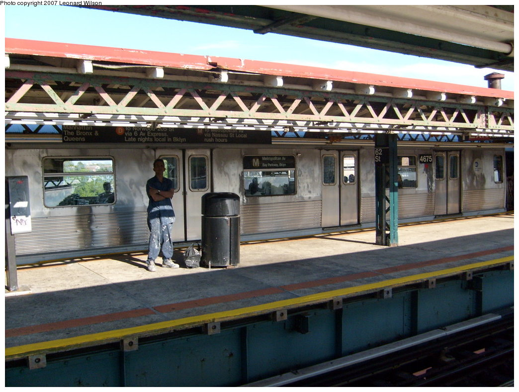 (219k, 1044x788)<br><b>Country:</b> United States<br><b>City:</b> New York<br><b>System:</b> New York City Transit<br><b>Line:</b> BMT West End Line<br><b>Location:</b> 62nd Street <br><b>Route:</b> M<br><b>Car:</b> R-42 (St. Louis, 1969-1970)  4675 <br><b>Photo by:</b> Leonard Wilson<br><b>Date:</b> 7/20/2007<br><b>Viewed (this week/total):</b> 0 / 2300