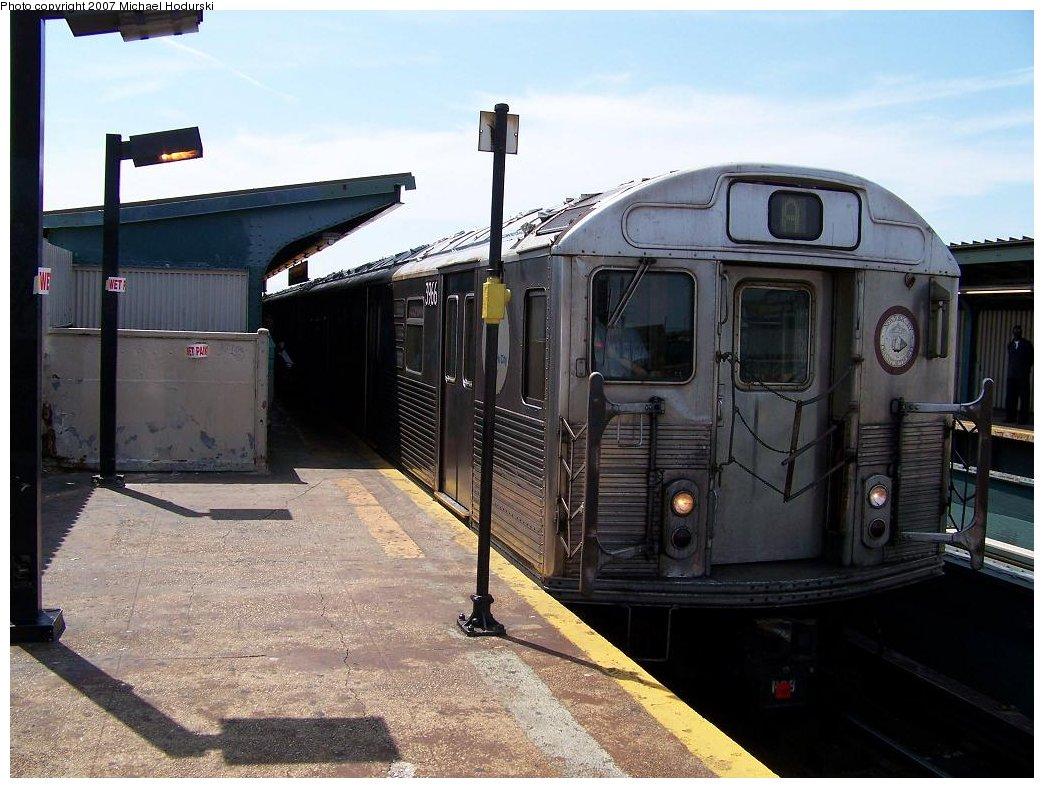 (185k, 1044x788)<br><b>Country:</b> United States<br><b>City:</b> New York<br><b>System:</b> New York City Transit<br><b>Line:</b> IND Fulton Street Line<br><b>Location:</b> Rockaway Boulevard <br><b>Route:</b> A<br><b>Car:</b> R-38 (St. Louis, 1966-1967)  3966 <br><b>Photo by:</b> Michael Hodurski<br><b>Date:</b> 7/25/2007<br><b>Viewed (this week/total):</b> 2 / 1488