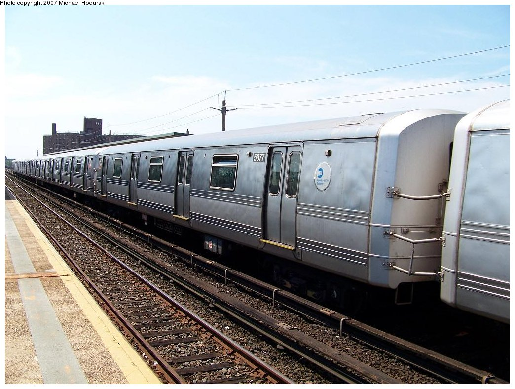 (201k, 1044x788)<br><b>Country:</b> United States<br><b>City:</b> New York<br><b>System:</b> New York City Transit<br><b>Line:</b> IND Rockaway<br><b>Location:</b> Beach 67th Street/Gaston Avenue <br><b>Route:</b> A<br><b>Car:</b> R-44 (St. Louis, 1971-73) 5377 <br><b>Photo by:</b> Michael Hodurski<br><b>Date:</b> 7/25/2007<br><b>Viewed (this week/total):</b> 0 / 1653