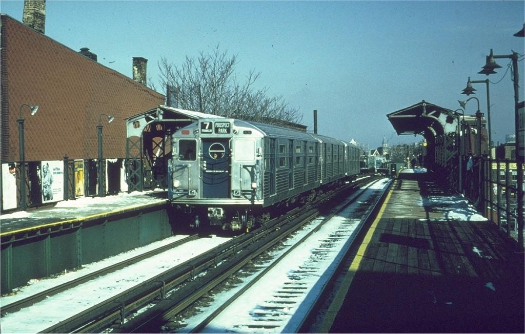 (212k, 1024x652)<br><b>Country:</b> United States<br><b>City:</b> New York<br><b>System:</b> New York City Transit<br><b>Line:</b> BMT Franklin<br><b>Location:</b> Dean Street <br><b>Route:</b> Franklin Shuttle<br><b>Car:</b> R-11 (Budd, 1949)  <br><b>Collection of:</b> Joe Testagrose<br><b>Date:</b> 2/1966<br><b>Viewed (this week/total):</b> 3 / 3637