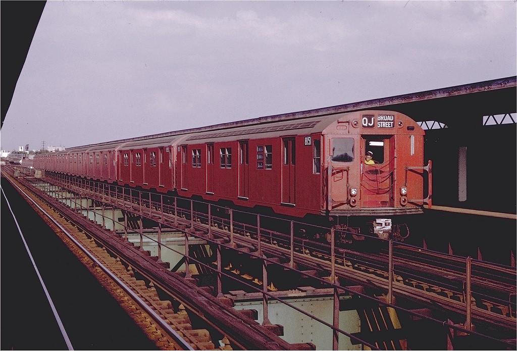(217k, 1024x695)<br><b>Country:</b> United States<br><b>City:</b> New York<br><b>System:</b> New York City Transit<br><b>Line:</b> BMT Nassau Street/Jamaica Line<br><b>Location:</b> 121st Street <br><b>Route:</b> QJ<br><b>Car:</b> R-27 (St. Louis, 1960)  8151 <br><b>Photo by:</b> Joe Testagrose<br><b>Date:</b> 8/2/1970<br><b>Viewed (this week/total):</b> 3 / 2045