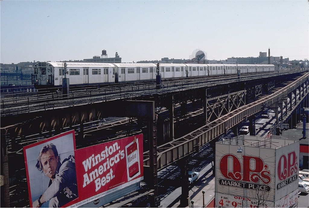 (250k, 1024x691)<br><b>Country:</b> United States<br><b>City:</b> New York<br><b>System:</b> New York City Transit<br><b>Line:</b> IRT Flushing Line<br><b>Location:</b> Queensborough Plaza <br><b>Route:</b> 7<br><b>Car:</b> R-36 World's Fair (St. Louis, 1963-64) 9378 <br><b>Photo by:</b> Steve Zabel<br><b>Collection of:</b> Joe Testagrose<br><b>Date:</b> 3/24/1984<br><b>Viewed (this week/total):</b> 0 / 3813