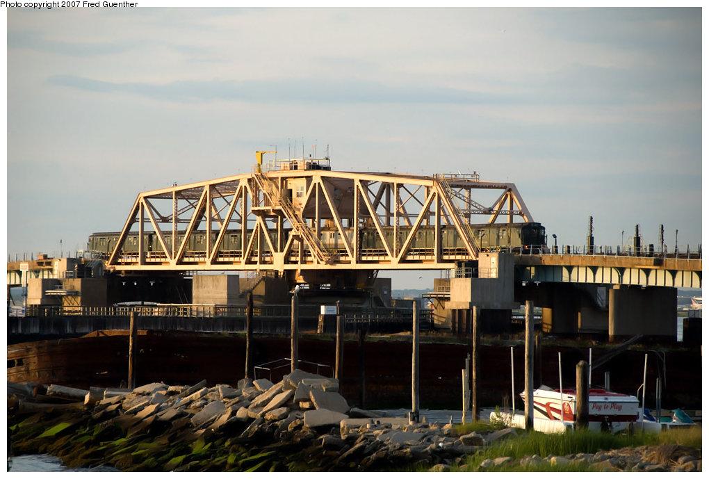 (186k, 1020x689)<br><b>Country:</b> United States<br><b>City:</b> New York<br><b>System:</b> New York City Transit<br><b>Line:</b> IND Rockaway<br><b>Location:</b> South Channel Bridge <br><b>Route:</b> Fan Trip<br><b>Car:</b> R-1/R-9 Series   <br><b>Photo by:</b> Fred Guenther<br><b>Date:</b> 7/22/2007<br><b>Notes:</b> IND R1-R9 museum train, South Channel--Rockaways.<br><b>Viewed (this week/total):</b> 1 / 2390