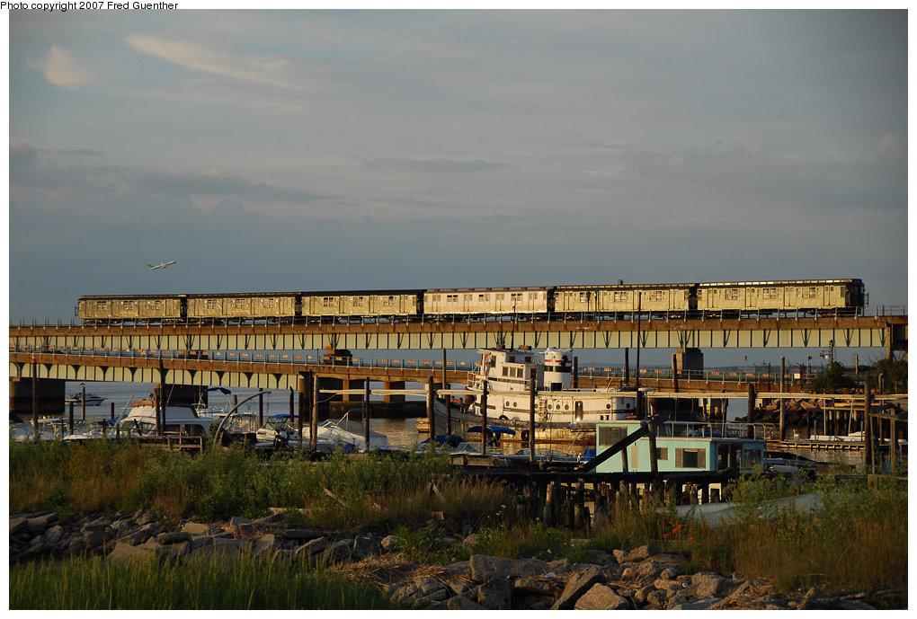 (204k, 1020x689)<br><b>Country:</b> United States<br><b>City:</b> New York<br><b>System:</b> New York City Transit<br><b>Line:</b> IND Rockaway<br><b>Location:</b> South Channel Bridge <br><b>Route:</b> Fan Trip<br><b>Car:</b> R-1/R-9 Series   <br><b>Photo by:</b> Fred Guenther<br><b>Date:</b> 7/22/2007<br><b>Notes:</b> IND R1-R9 museum train, South Channel--Rockaways.<br><b>Viewed (this week/total):</b> 1 / 2358
