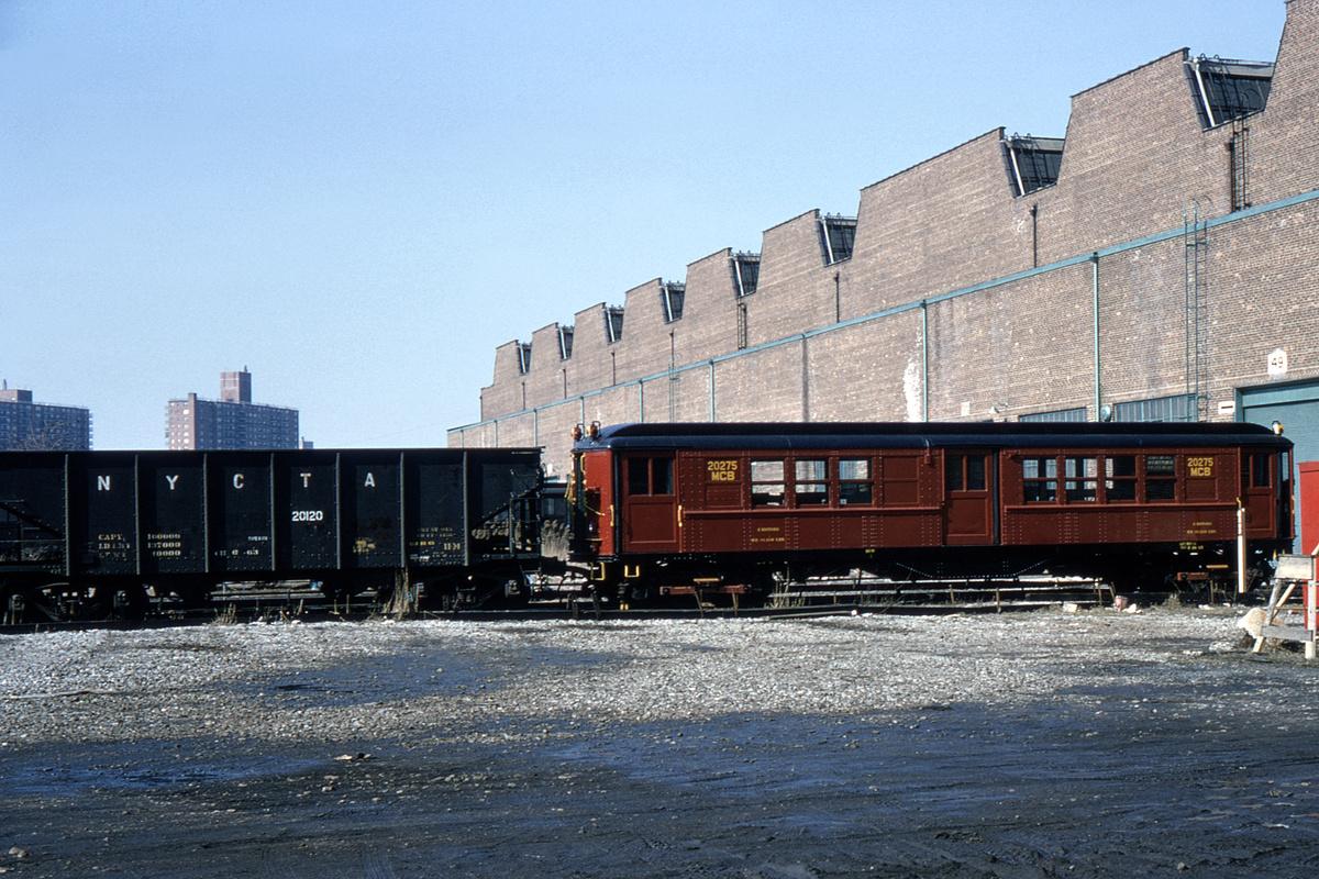 (469k, 1044x710)<br><b>Country:</b> United States<br><b>City:</b> New York<br><b>System:</b> New York City Transit<br><b>Location:</b> Coney Island Yard<br><b>Car:</b> Low-V 20275 (ex-5439)<br><b>Collection of:</b> David Pirmann<br><b>Date:</b> 2/28/1965<br><b>Viewed (this week/total):</b> 0 / 2785