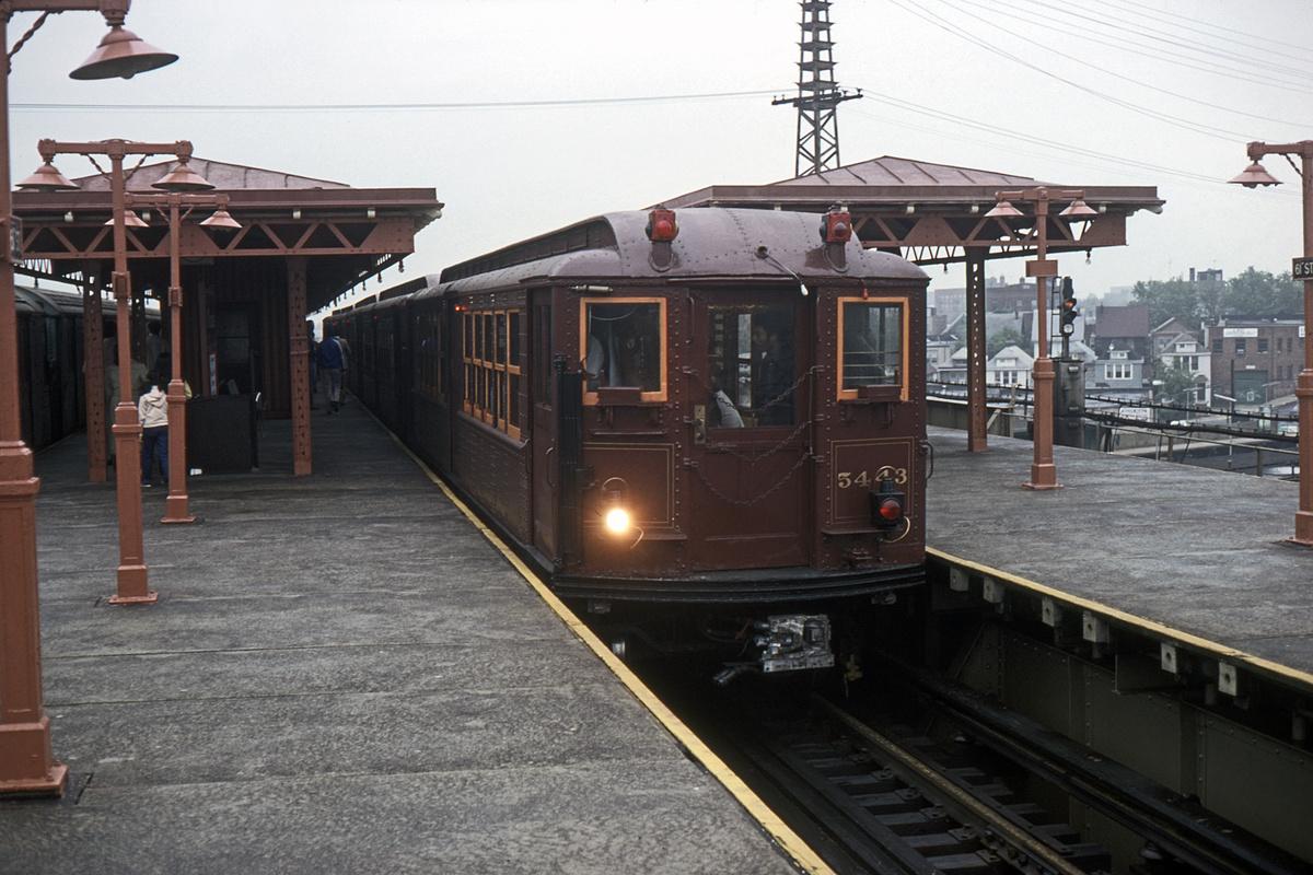 (324k, 1024x683)<br><b>Country:</b> United States<br><b>City:</b> New York<br><b>System:</b> New York City Transit<br><b>Line:</b> IRT Flushing Line<br><b>Location:</b> 61st Street/Woodside <br><b>Route:</b> Fan Trip<br><b>Car:</b> Low-V (Museum Train) 5443 <br><b>Collection of:</b> David Pirmann<br><b>Date:</b> 6/2/1979<br><b>Viewed (this week/total):</b> 2 / 3298