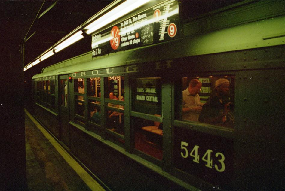 (78k, 948x636)<br><b>Country:</b> United States<br><b>City:</b> New York<br><b>System:</b> New York City Transit<br><b>Line:</b> IRT West Side Line<br><b>Location:</b> Rector Street <br><b>Route:</b> Fan Trip<br><b>Car:</b> Low-V (Museum Train) 5443 <br><b>Photo by:</b> David Pirmann<br><b>Date:</b> 9/8/1996<br><b>Viewed (this week/total):</b> 0 / 8062