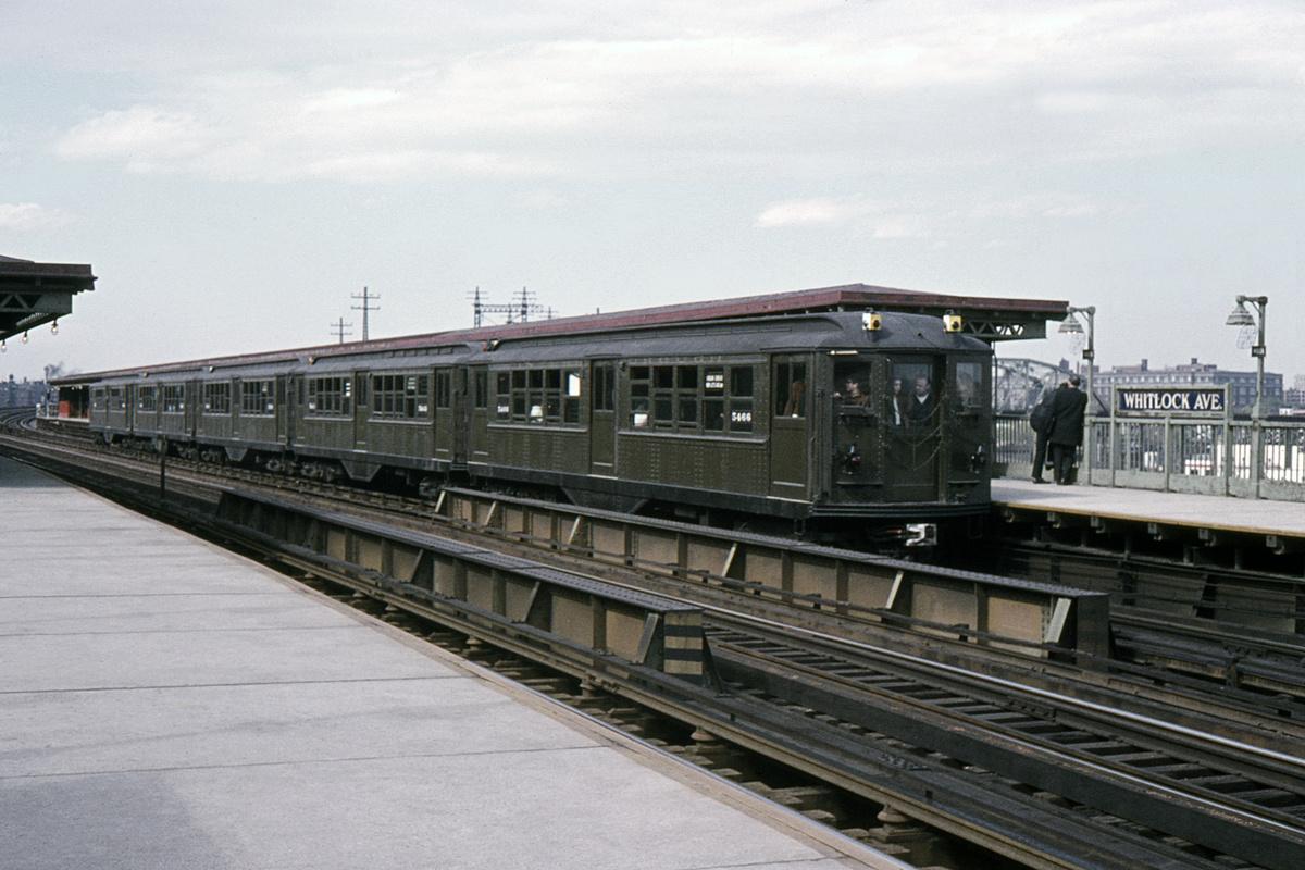 (387k, 1024x683)<br><b>Country:</b> United States<br><b>City:</b> New York<br><b>System:</b> New York City Transit<br><b>Line:</b> IRT Pelham Line<br><b>Location:</b> Whitlock Avenue <br><b>Route:</b> Fan Trip<br><b>Car:</b> Low-V (Museum Train) 5466 <br><b>Collection of:</b> David Pirmann<br><b>Date:</b> 5/7/1966<br><b>Viewed (this week/total):</b> 1 / 3091