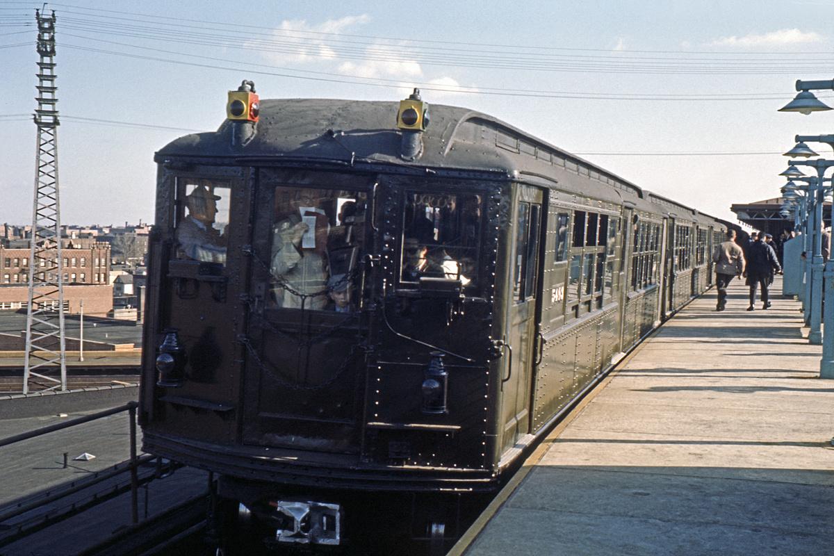 (355k, 1044x707)<br><b>Country:</b> United States<br><b>City:</b> New York<br><b>System:</b> New York City Transit<br><b>Line:</b> IRT Flushing Line<br><b>Location:</b> 61st Street/Woodside <br><b>Route:</b> Fan Trip<br><b>Car:</b> Low-V (Museum Train) 5483 <br><b>Collection of:</b> David Pirmann<br><b>Date:</b> 11/14/1965<br><b>Viewed (this week/total):</b> 1 / 2961