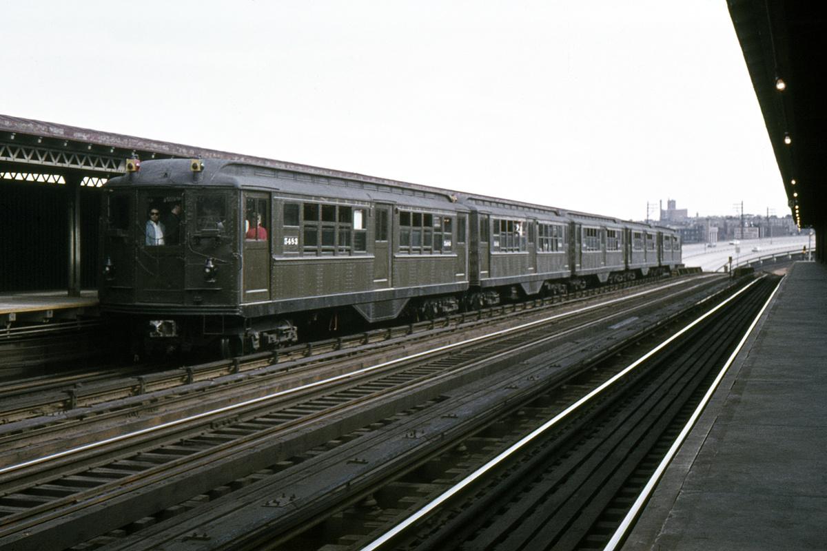 (331k, 1024x683)<br><b>Country:</b> United States<br><b>City:</b> New York<br><b>System:</b> New York City Transit<br><b>Line:</b> IRT Pelham Line<br><b>Location:</b> Whitlock Avenue <br><b>Route:</b> Fan Trip<br><b>Car:</b> Low-V (Museum Train) 5483 <br><b>Collection of:</b> David Pirmann<br><b>Date:</b> 5/7/1966<br><b>Viewed (this week/total):</b> 1 / 2867