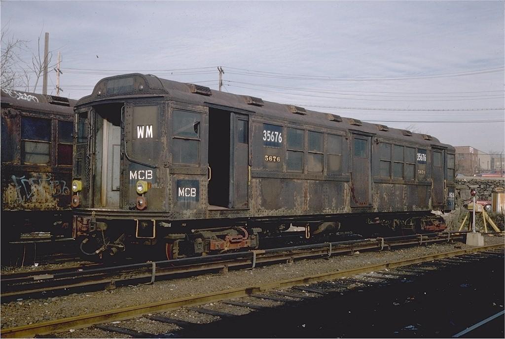 (199k, 1024x688)<br><b>Country:</b> United States<br><b>City:</b> New York<br><b>System:</b> New York City Transit<br><b>Location:</b> Westchester Yard<br><b>Car:</b> Low-V Worlds Fair 35676 (ex-5676)<br><b>Photo by:</b> Steve Zabel<br><b>Collection of:</b> Joe Testagrose<br><b>Date:</b> 4/13/1978<br><b>Viewed (this week/total):</b> 0 / 2871