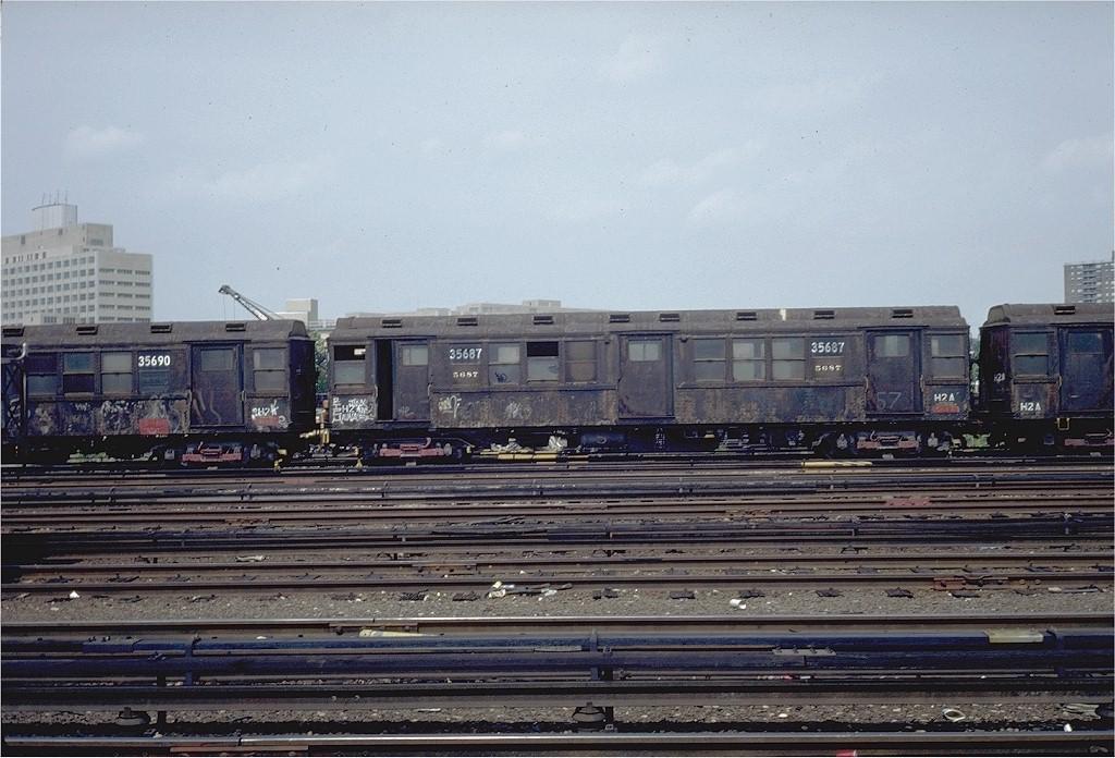 (211k, 1024x696)<br><b>Country:</b> United States<br><b>City:</b> New York<br><b>System:</b> New York City Transit<br><b>Location:</b> Westchester Yard<br><b>Car:</b> Low-V Worlds Fair 35687 (ex-5687)<br><b>Photo by:</b> Steve Zabel<br><b>Collection of:</b> Joe Testagrose<br><b>Date:</b> 6/6/1981<br><b>Viewed (this week/total):</b> 0 / 3228