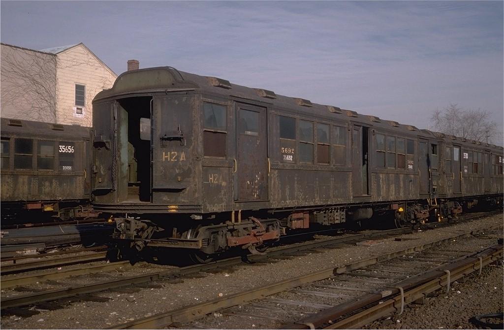 (185k, 1024x671)<br><b>Country:</b> United States<br><b>City:</b> New York<br><b>System:</b> New York City Transit<br><b>Location:</b> Westchester Yard<br><b>Car:</b> Low-V Worlds Fair 35692 (ex-5692)<br><b>Photo by:</b> Steve Zabel<br><b>Collection of:</b> Joe Testagrose<br><b>Date:</b> 4/13/1978<br><b>Viewed (this week/total):</b> 4 / 3081