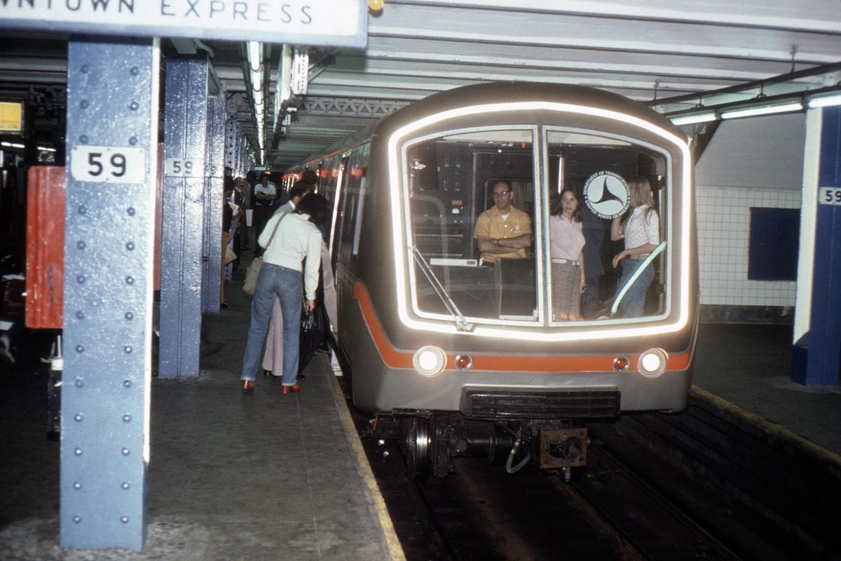 (405k, 1200x800)<br><b>Country:</b> United States<br><b>City:</b> New York<br><b>System:</b> New York City Transit<br><b>Line:</b> IND 8th Avenue Line<br><b>Location:</b> 59th Street/Columbus Circle<br><b>Car:</b> SOAC  <br><b>Collection of:</b> David Pirmann<br><b>Date:</b> 7/1974<br><b>Viewed (this week/total):</b> 4 / 8497