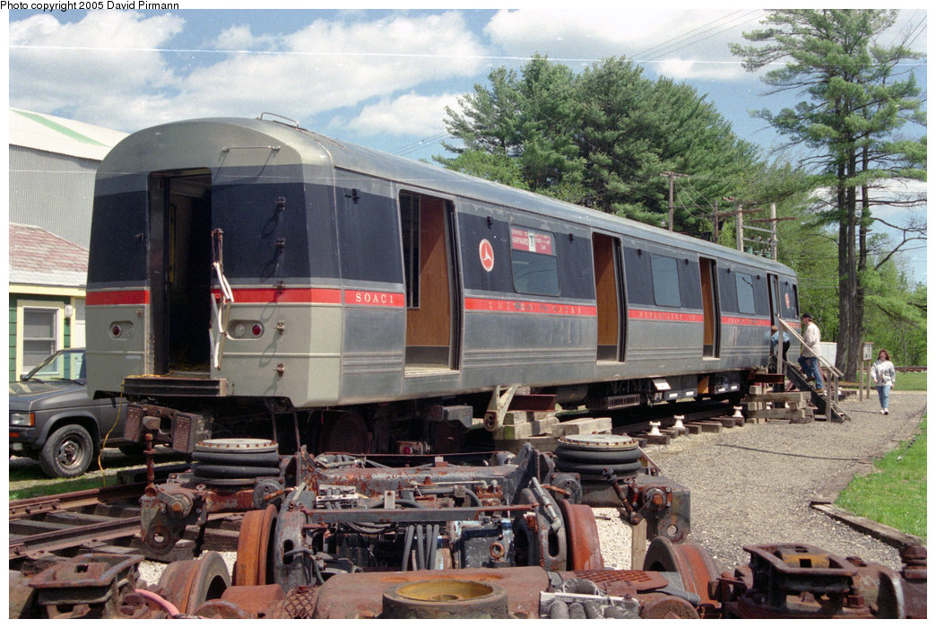 (250k, 1044x700)<br><b>Country:</b> United States<br><b>City:</b> Kennebunk, ME<br><b>System:</b> Seashore Trolley Museum <br><b>Car:</b> SOAC  <br><b>Photo by:</b> David Pirmann<br><b>Date:</b> 5/25/1996<br><b>Notes:</b> Exterior blind-end view (notice the resemblence to the R42)<br><b>Viewed (this week/total):</b> 11 / 17038