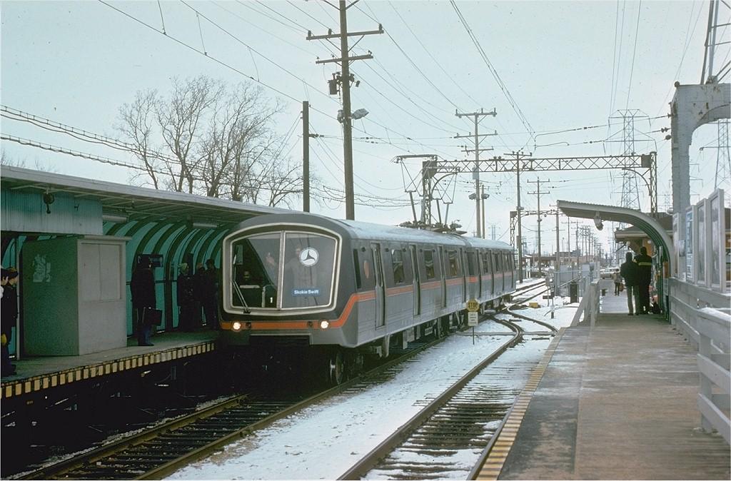 (212k, 1024x674)<br><b>Country:</b> United States<br><b>City:</b> Chicago, IL<br><b>System:</b> Chicago Transit Authority <br><b>Line:</b> CTA Yellow (Skokie)<br><b>Location:</b> Dempster <br><b>Route:</b> CTA<br><b>Car:</b> SOAC  <br><b>Photo by:</b> Joe Testagrose<br><b>Date:</b> 2/8/1975<br><b>Viewed (this week/total):</b> 1 / 6224
