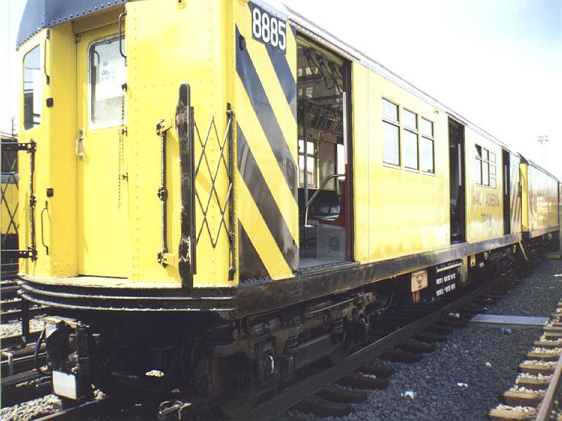 (87k, 800x600)<br><b>Country:</b> United States<br><b>City:</b> New York<br><b>System:</b> New York City Transit<br><b>Location:</b> Westchester Yard<br><b>Car:</b> Rail Adhesion Train (R-30/R-33 Rebuilds) 8885 <br><b>Photo by:</b> Constantine Steffan<br><b>Date:</b> 9/12/1998<br><b>Notes:</b> Rail Adhesion Train<br><b>Viewed (this week/total):</b> 7 / 7039