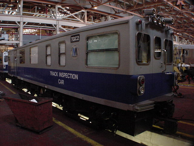 (59k, 640x480)<br><b>Country:</b> United States<br><b>City:</b> New York<br><b>System:</b> New York City Transit<br><b>Location:</b> Coney Island Shop/Overhaul & Repair Shop<br><b>Car:</b> Track Geometry Car TGC2 <br><b>Photo by:</b> Salaam Allah<br><b>Date:</b> 10/29/2000<br><b>Viewed (this week/total):</b> 0 / 4857