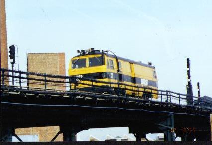 (20k, 426x292)<br><b>Country:</b> United States<br><b>City:</b> New York<br><b>System:</b> New York City Transit<br><b>Location:</b> Coney Island Yard<br><b>Car:</b> Sperry Rail Service  403 <br><b>Photo by:</b> Jesse R. Foust<br><b>Notes:</b> On Culver yard lead near Ave. X<br><b>Viewed (this week/total):</b> 5 / 4442