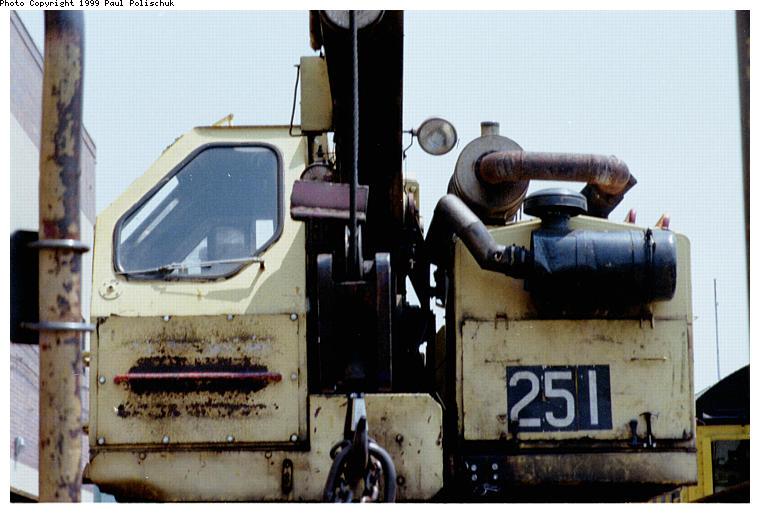 (71k, 760x514)<br><b>Country:</b> United States<br><b>City:</b> New York<br><b>System:</b> New York City Transit<br><b>Location:</b> Corona Yard<br><b>Car:</b> Crane Car 251 <br><b>Photo by:</b> Paul Polischuk<br><b>Date:</b> 6/25/1999<br><b>Viewed (this week/total):</b> 2 / 3362