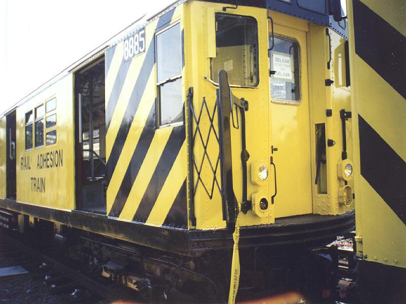 (80k, 800x600)<br><b>Country:</b> United States<br><b>City:</b> New York<br><b>System:</b> New York City Transit<br><b>Location:</b> Westchester Yard<br><b>Car:</b> Rail Adhesion Train (R-30/R-33 Rebuilds) 8885 <br><b>Photo by:</b> Constantine Steffan<br><b>Date:</b> 9/12/1998<br><b>Notes:</b> Rail Adhesion Train<br><b>Viewed (this week/total):</b> 0 / 5923