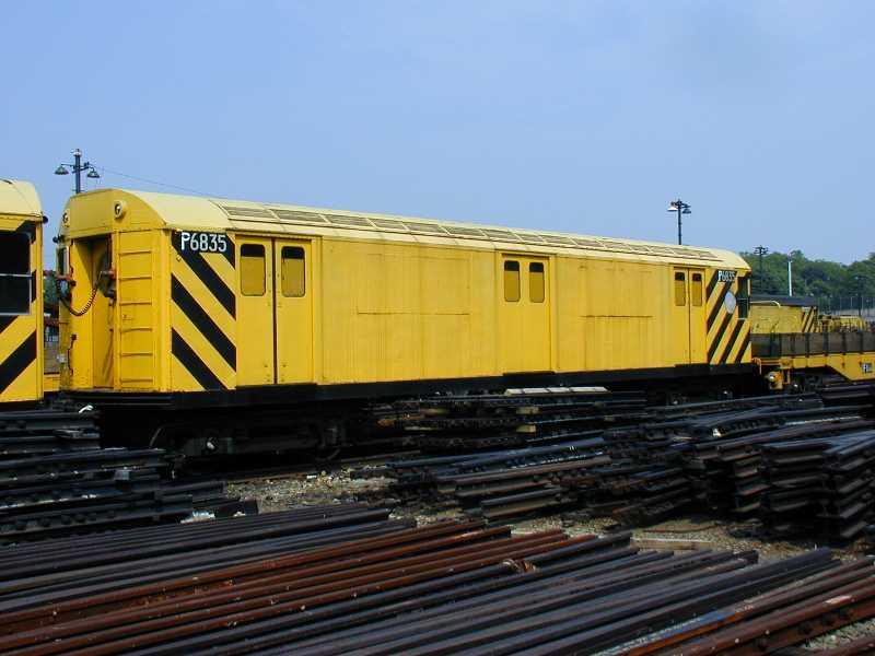 (45k, 800x600)<br><b>Country:</b> United States<br><b>City:</b> New York<br><b>System:</b> New York City Transit<br><b>Location:</b> 36th Street Yard<br><b>Car:</b> R-71 Pump/Reach Car (R-17/R-21/R-22 Rebuilds) P6835 (ex-6835)<br><b>Photo by:</b> Jeff Erlitz<br><b>Date:</b> 5/27/2002<br><b>Notes:</b> Reach car<br><b>Viewed (this week/total):</b> 2 / 5747