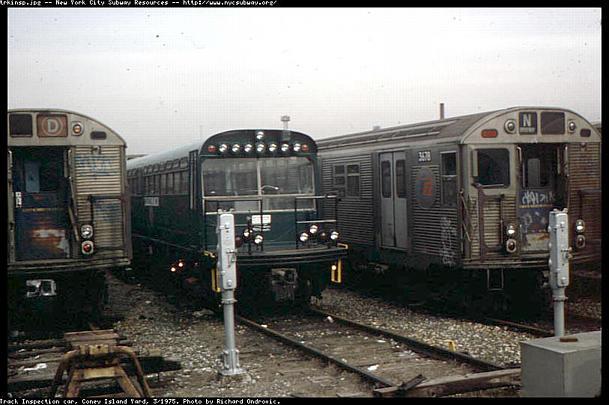 (51k, 609x405)<br><b>Country:</b> United States<br><b>City:</b> New York<br><b>System:</b> New York City Transit<br><b>Location:</b> Coney Island Yard<br><b>Car:</b> Observation Car 0F116 <br><b>Photo by:</b> Richard Ondrovic<br><b>Date:</b> 3/1975<br><b>Viewed (this week/total):</b> 1 / 5797