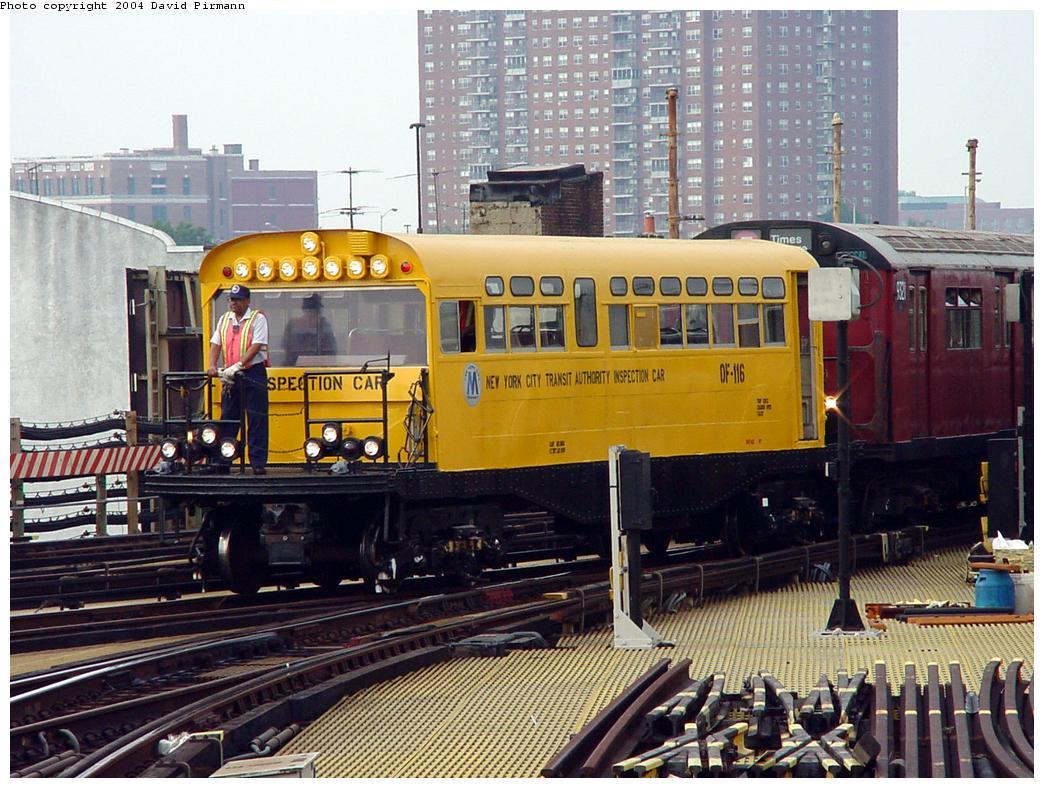 (163k, 1044x788)<br><b>Country:</b> United States<br><b>City:</b> New York<br><b>System:</b> New York City Transit<br><b>Location:</b> Coney Island/Stillwell Avenue<br><b>Route:</b> Fan Trip<br><b>Car:</b> Observation Car 0F116 <br><b>Photo by:</b> David Pirmann<br><b>Date:</b> 8/27/2000<br><b>Viewed (this week/total):</b> 2 / 6876