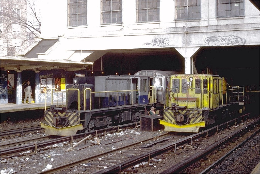 (244k, 1024x687)<br><b>Country:</b> United States<br><b>City:</b> New York<br><b>System:</b> New York City Transit<br><b>Line:</b> IRT Dyre Ave. Line<br><b>Location:</b> Morris Park <br><b>Car:</b> R-37 Locomotive  51 <br><b>Photo by:</b> Steve Zabel<br><b>Collection of:</b> Joe Testagrose<br><b>Date:</b> 11/24/1979<br><b>Notes:</b> With Locomotive 52<br><b>Viewed (this week/total):</b> 2 / 8656