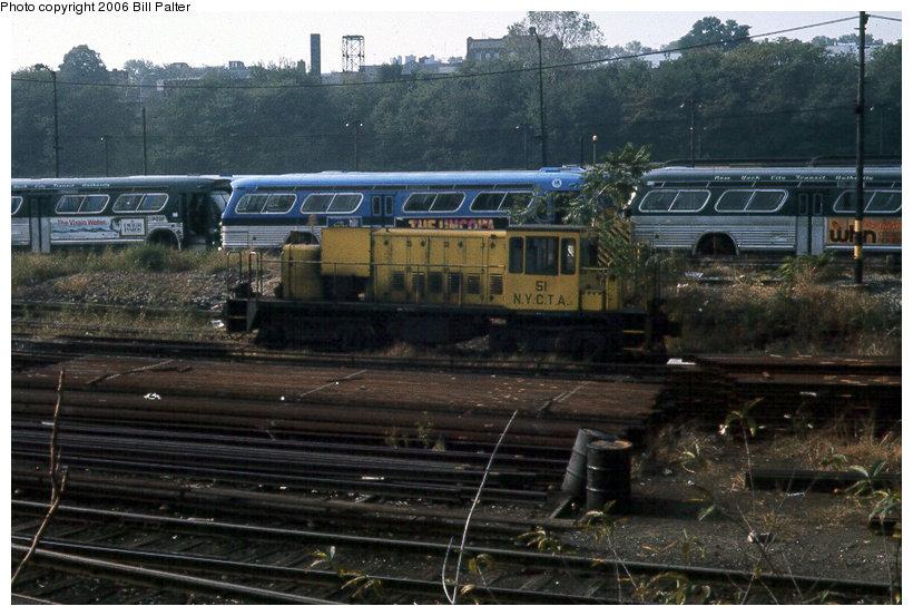 (133k, 820x553)<br><b>Country:</b> United States<br><b>City:</b> New York<br><b>System:</b> New York City Transit<br><b>Location:</b> 36th Street Yard<br><b>Car:</b> R-37 Locomotive  51 <br><b>Collection of:</b> Bill Palter<br><b>Date:</b> 10/1972<br><b>Viewed (this week/total):</b> 1 / 4267