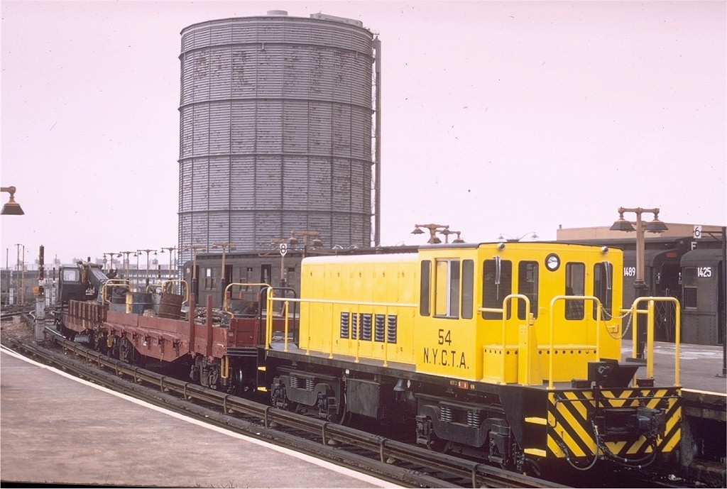 (178k, 1024x689)<br><b>Country:</b> United States<br><b>City:</b> New York<br><b>System:</b> New York City Transit<br><b>Location:</b> Coney Island/Stillwell Avenue<br><b>Car:</b> R-41 Locomotive  54 <br><b>Photo by:</b> Doug Grotjahn<br><b>Collection of:</b> Joe Testagrose<br><b>Date:</b> 5/4/1968<br><b>Viewed (this week/total):</b> 3 / 4111