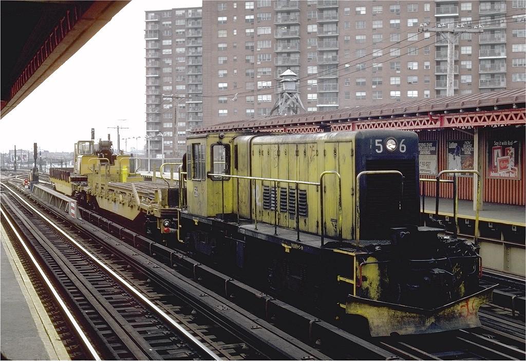 (260k, 1024x703)<br><b>Country:</b> United States<br><b>City:</b> New York<br><b>System:</b> New York City Transit<br><b>Line:</b> BMT West End Line<br><b>Location:</b> Bay 50th Street <br><b>Car:</b> R-41 Locomotive  56 <br><b>Photo by:</b> Steve Zabel<br><b>Collection of:</b> Joe Testagrose<br><b>Date:</b> 12/17/1981<br><b>Viewed (this week/total):</b> 1 / 5345