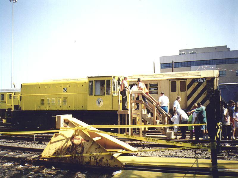 (87k, 800x600)<br><b>Country:</b> United States<br><b>City:</b> New York<br><b>System:</b> New York City Transit<br><b>Location:</b> Westchester Yard<br><b>Car:</b> R-47 Locomotive  63 <br><b>Photo by:</b> Constantine Steffan<br><b>Date:</b> 9/12/1998<br><b>Notes:</b> Loco 63 w/ R21 7267<br><b>Viewed (this week/total):</b> 2 / 3384