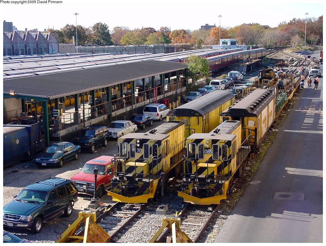 (318k, 1044x788)<br><b>Country:</b> United States<br><b>City:</b> New York<br><b>System:</b> New York City Transit<br><b>Location:</b> Corona Yard<br><b>Car:</b> R-47 Locomotive  70 <br><b>Photo by:</b> David Pirmann<br><b>Date:</b> 11/11/2001<br><b>Notes:</b> With Loco 65<br><b>Viewed (this week/total):</b> 0 / 3195