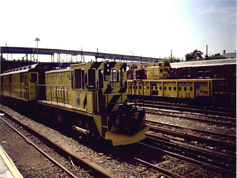 (104k, 800x600)<br><b>Country:</b> United States<br><b>City:</b> New York<br><b>System:</b> New York City Transit<br><b>Location:</b> Westchester Yard<br><b>Car:</b> R-47 Locomotive  70 <br><b>Photo by:</b> Constantine Steffan<br><b>Date:</b> 9/12/1998<br><b>Notes:</b> Loco 70<br><b>Viewed (this week/total):</b> 0 / 2519