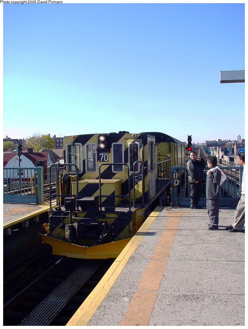 (203k, 790x1047)<br><b>Country:</b> United States<br><b>City:</b> New York<br><b>System:</b> New York City Transit<br><b>Line:</b> IRT Flushing Line<br><b>Location:</b> Junction Boulevard <br><b>Car:</b> R-47 Locomotive  70 <br><b>Photo by:</b> David Pirmann<br><b>Date:</b> 11/11/2001<br><b>Viewed (this week/total):</b> 0 / 3569