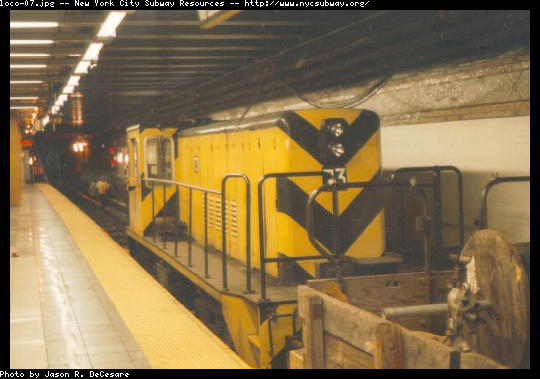 (41k, 540x379)<br><b>Country:</b> United States<br><b>City:</b> New York<br><b>System:</b> New York City Transit<br><b>Line:</b> BMT 4th Avenue<br><b>Location:</b> 36th Street <br><b>Car:</b> R-52 Locomotive  73 <br><b>Photo by:</b> Jason R. DeCesare<br><b>Date:</b> 6/1997<br><b>Viewed (this week/total):</b> 0 / 3921