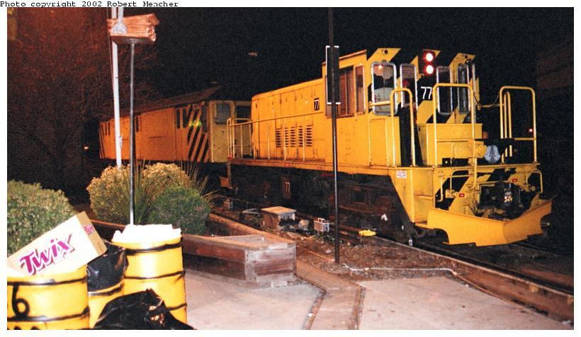 (76k, 820x476)<br><b>Country:</b> United States<br><b>City:</b> New York<br><b>System:</b> New York City Transit<br><b>Location:</b> 36th Street Yard<br><b>Car:</b> R-52 Locomotive  77 <br><b>Photo by:</b> Robert Mencher<br><b>Date:</b> 4/2002<br><b>Viewed (this week/total):</b> 0 / 2598