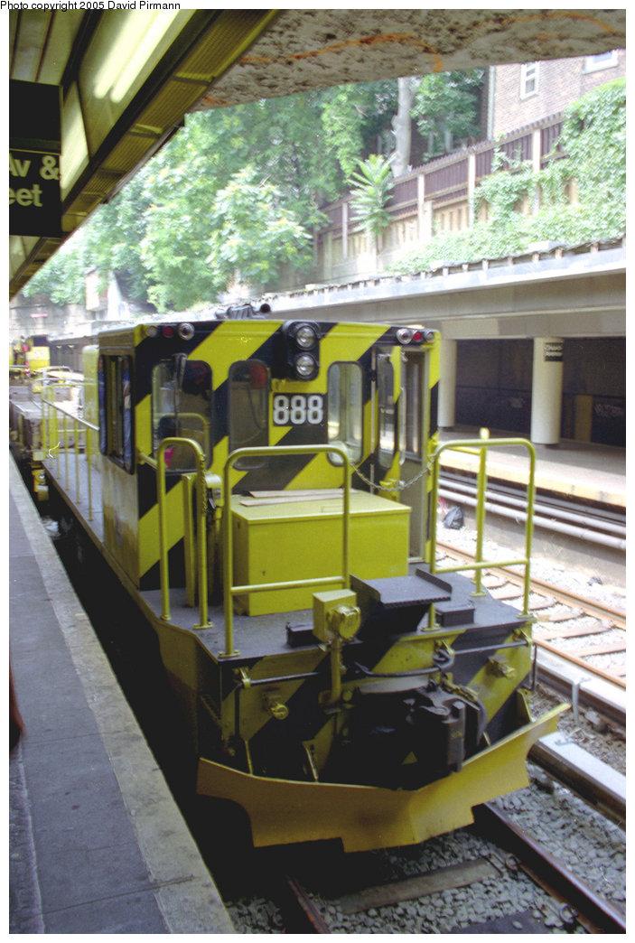 (216k, 703x1044)<br><b>Country:</b> United States<br><b>City:</b> New York<br><b>System:</b> New York City Transit<br><b>Line:</b> BMT Brighton Line<br><b>Location:</b> Church Avenue <br><b>Car:</b> R-77 Locomotive  888 <br><b>Photo by:</b> David Pirmann<br><b>Date:</b> 7/18/1998<br><b>Viewed (this week/total):</b> 3 / 3994