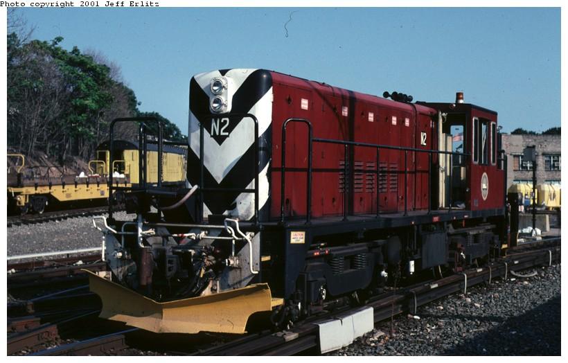 (119k, 820x524)<br><b>Country:</b> United States<br><b>City:</b> New York<br><b>System:</b> New York City Transit<br><b>Location:</b> 36th Street Yard<br><b>Route:</b> Fan Trip<br><b>Car:</b> R-47 (SBK) Locomotive  N2 <br><b>Photo by:</b> Jeff Erlitz<br><b>Date:</b> 8/26/2001<br><b>Viewed (this week/total):</b> 0 / 2166