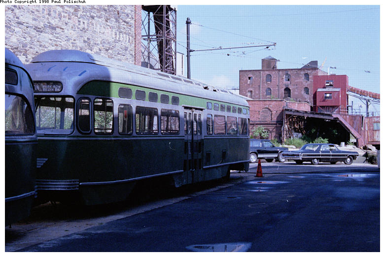 (86k, 781x522)<br><b>Country:</b> United States<br><b>City:</b> New York<br><b>System:</b> Brooklyn Trolley Museum <br><b>Photo by:</b> Paul Polischuk<br><b>Date:</b> 1998<br><b>Notes:</b> Sideview of PCC under restoration<br><b>Viewed (this week/total):</b> 0 / 4098
