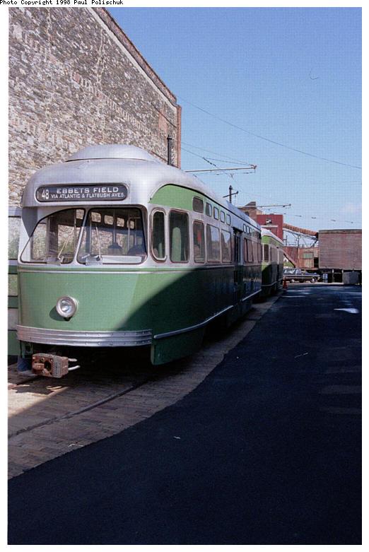(72k, 522x781)<br><b>Country:</b> United States<br><b>City:</b> New York<br><b>System:</b> Brooklyn Trolley Museum <br><b>Car:</b> MBTA/BSRy PCC Post-War Picture Window (Pullman-Standard, 1951)  3321 <br><b>Photo by:</b> Paul Polischuk<br><b>Date:</b> 1998<br><b>Notes:</b> Sideview of both PCCs<br><b>Viewed (this week/total):</b> 0 / 3054