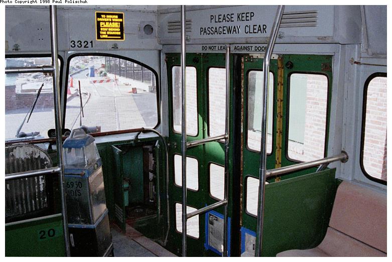 (91k, 781x522)<br><b>Country:</b> United States<br><b>City:</b> New York<br><b>System:</b> Brooklyn Trolley Museum <br><b>Car:</b> MBTA/BSRy PCC Post-War Picture Window (Pullman-Standard, 1951)  3321 <br><b>Photo by:</b> Paul Polischuk<br><b>Date:</b> 1998<br><b>Notes:</b> Entrance view of PCC 3321<br><b>Viewed (this week/total):</b> 1 / 4954