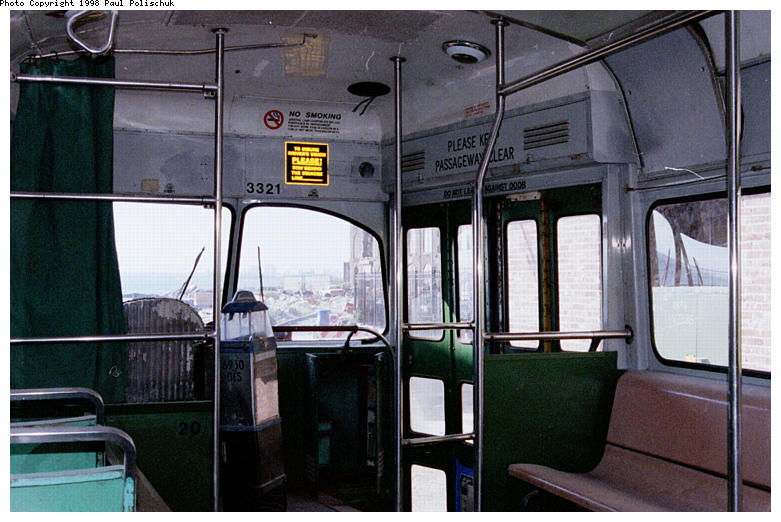 (85k, 781x522)<br><b>Country:</b> United States<br><b>City:</b> New York<br><b>System:</b> Brooklyn Trolley Museum <br><b>Car:</b> MBTA/BSRy PCC Post-War Picture Window (Pullman-Standard, 1951)  3321 <br><b>Photo by:</b> Paul Polischuk<br><b>Date:</b> 1998<br><b>Notes:</b> Interior view-front<br><b>Viewed (this week/total):</b> 2 / 3683