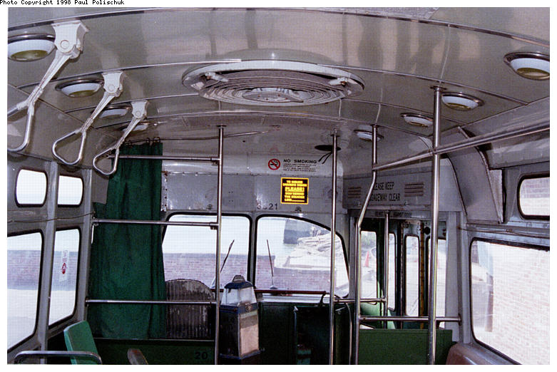 (90k, 781x522)<br><b>Country:</b> United States<br><b>City:</b> New York<br><b>System:</b> Brooklyn Trolley Museum <br><b>Car:</b> MBTA/BSRy PCC Post-War Picture Window (Pullman-Standard, 1951)  3321 <br><b>Photo by:</b> Paul Polischuk<br><b>Date:</b> 1998<br><b>Notes:</b> Interior view-front<br><b>Viewed (this week/total):</b> 1 / 3393
