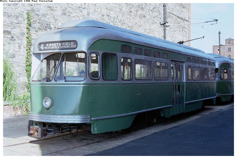 (83k, 781x522)<br><b>Country:</b> United States<br><b>City:</b> New York<br><b>System:</b> Brooklyn Trolley Museum <br><b>Car:</b> MBTA/BSRy PCC Post-War Picture Window (Pullman-Standard, 1951)  3321 <br><b>Photo by:</b> Paul Polischuk<br><b>Date:</b> 1998<br><b>Notes:</b> Sideview of PCC 3321<br><b>Viewed (this week/total):</b> 0 / 5639